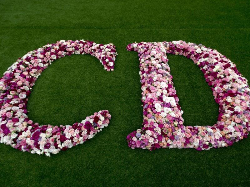 This picture shows a flower logo of the French luxury brand Christian Dior at the Grand Palais in Paris, two days before the opening of an exhibition. (AFP)