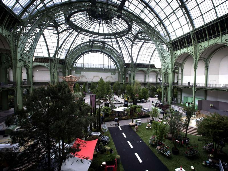 This picture tshows the Grand Palais transformed into a giant greenhouse two days before the opening of an exhibition. (AFP)