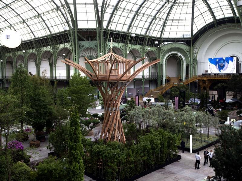 This picture shows the Grand Palais transformed into a giant greenhouse two days before the opening of an exhibition. (AFP)