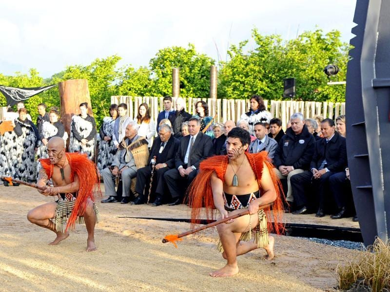 Maoris in traditional clothing perform during the inauguration of the garden 'Te Putake' dedicated to Maori culture in Les Jardins Fruitiers (fruit gardens) in Laquenexy, eastern France. AFP