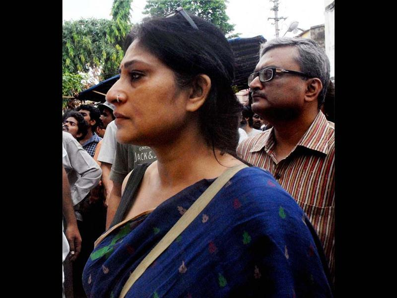 Actress Rupa Ganguly arrives to pay her last respects to film director Rituparno Ghosh at his residence in Kolkata on Thursday. (PTI Photo)