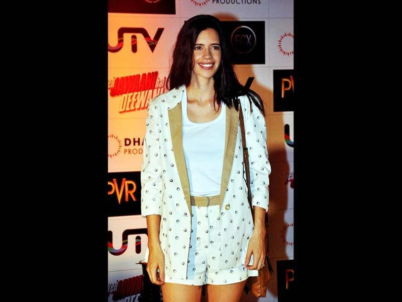 While Deepika went for ethnic look, Kalki's style was a complete contrast. The quirky stylista wore shorts and suit combo. (AFP Photo)