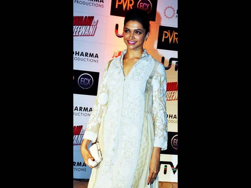 Deepika Padukone carries the uneven anarkali suit well. (AFP Photo)