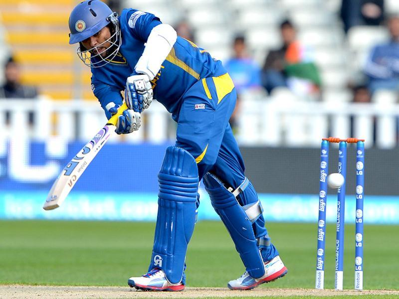 Sri Lanka's Tillakaratne Dilshan plays a shot during the warm-up cricket match ahead of the 2013 ICC Champions Trophy between India and Sri Lanka at Edgbaston in Birmingham. AFP/Andrew Yates