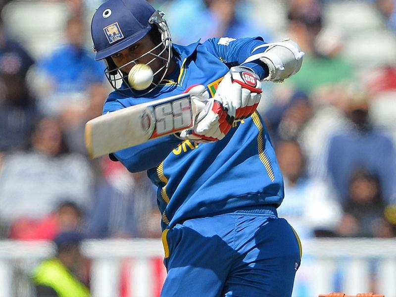 Sri Lanka's Dinesh Chandimal plays a shot during the warm-up cricket match ahead of the 2013 ICC Champions Trophy between India and Sri Lanka at Edgbaston in Birmingham. AFP/Andrew Yates