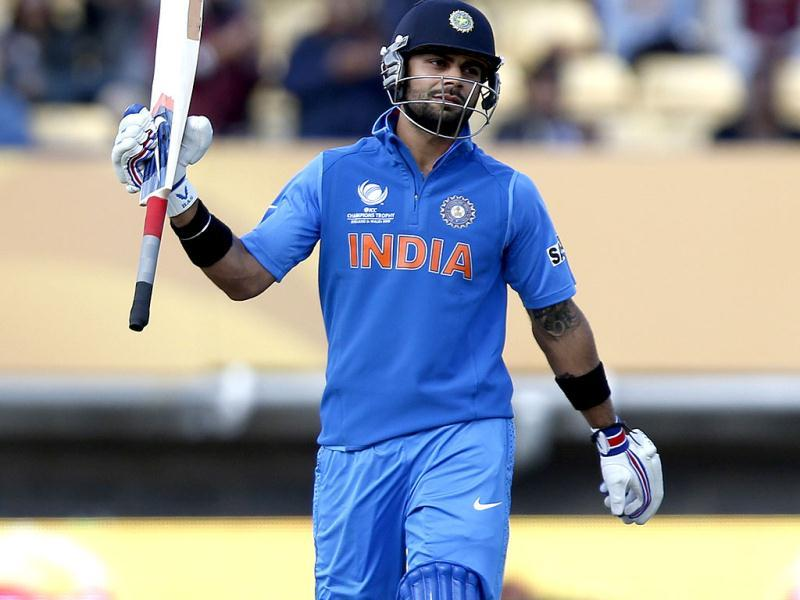 India's Virat Kohli reacts to his century he got against Sri Lanka during their ICC Champions Trophy warm-up cricket match at Edgbaston cricket ground in Birmingham, England. AP/Sang Tan
