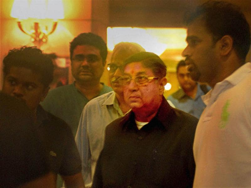 BCCI President N Srinivasan leaves after Emergent meeting of the Working Committee in Chennai. PTI photo