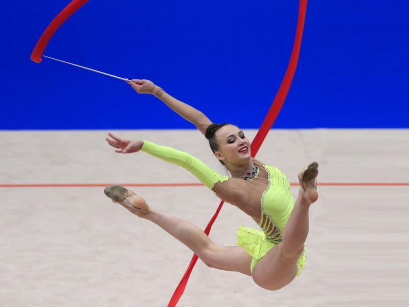Ukraine's Ganna Rizatdinova performs her ribbon program during the senior individual apparatus final competition as part of the 29th rythmic gymnastics European Championships held at the Stadthalle in Vienna. (AFP Photo)
