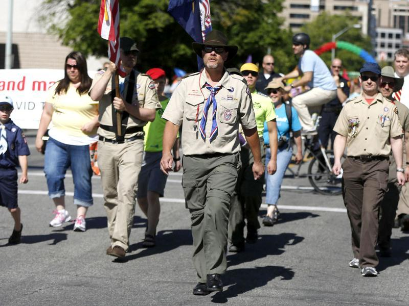 Members of the Boys Scouts of America march in a gay pride parade in Salt Lake City, Utah. (Reuters)