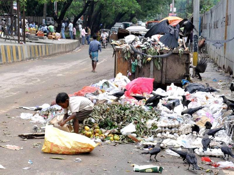 A child searching plastic items in a garbage dump in Guwahati on the eve of World Environment Day.