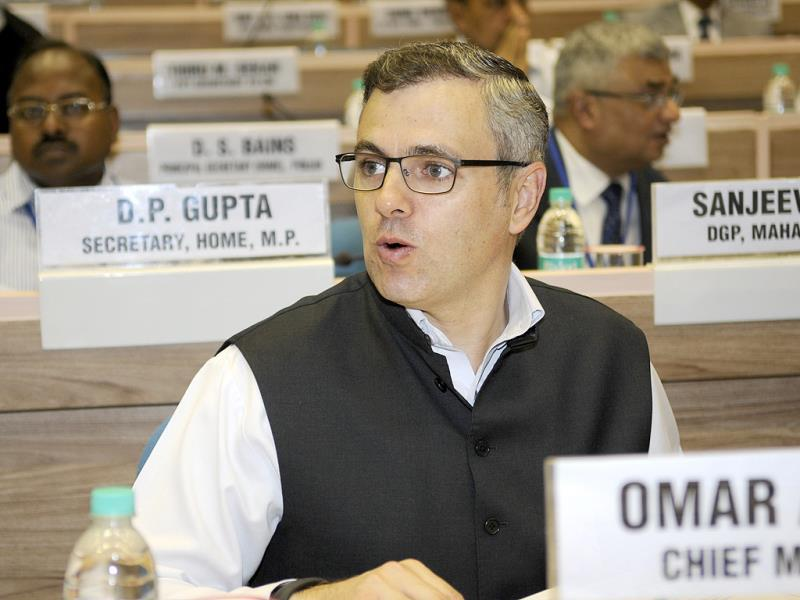 J&K chief minister Omar Abdullah during the chief ministers' conference on internal security in New Delhi. HT Photo/Sunil Saxena