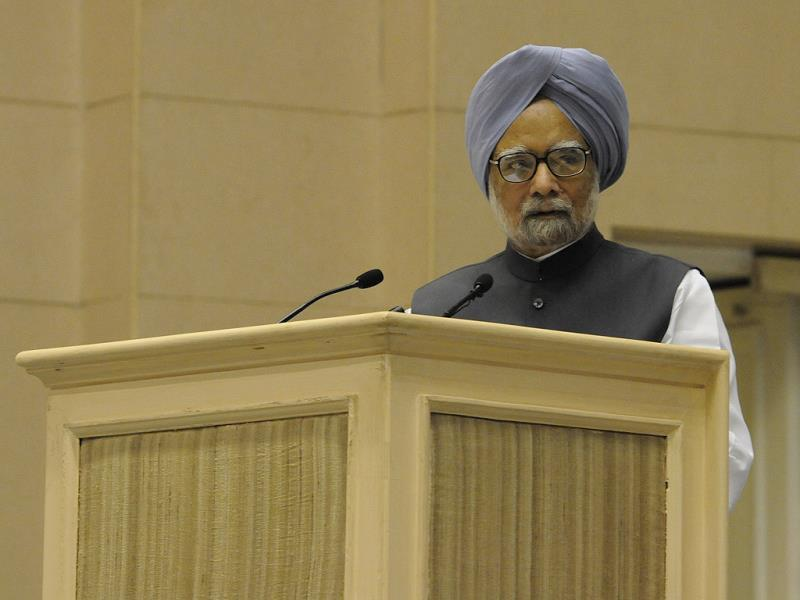 Prime Minister Manmohan Singh addresses chief ministers' conference on internal security in New Delhi. HT Photo/Sunil Saxena