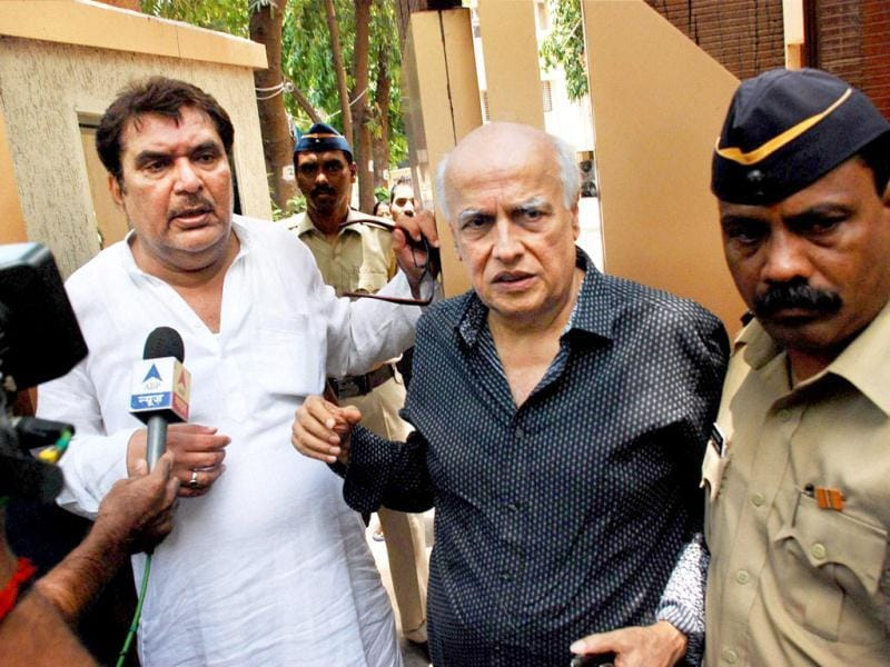 Filmmaker Mahesh Bhatt (right) and actor Raza Murad were also among those who paid a visit at Jiah Khan's residence. (AP Photo)