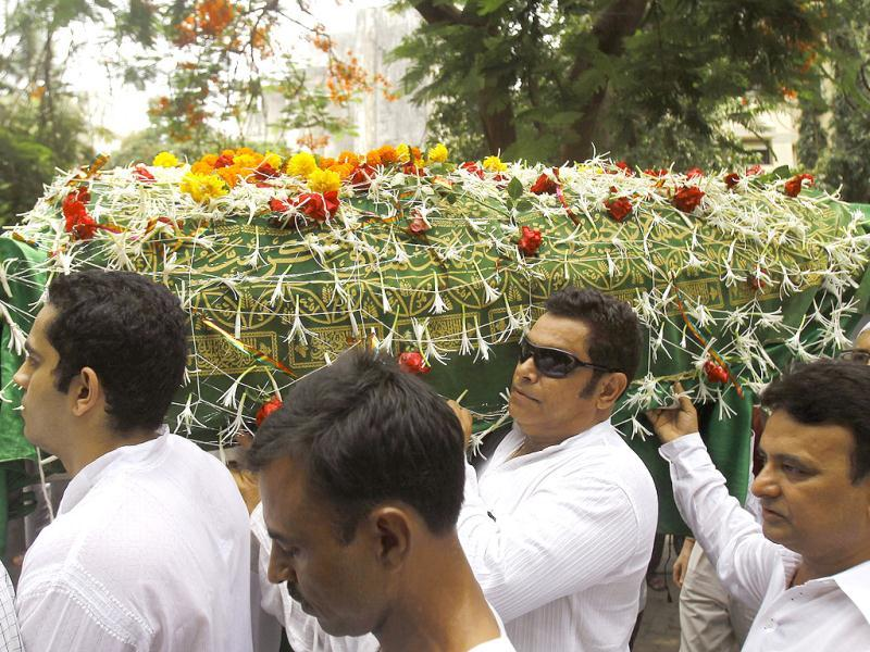 Friends and relatives carry Jiah Khan's coffin during her funeral. (AP Photo)