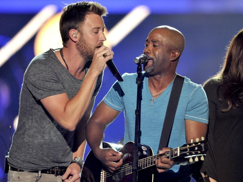 Charles Kelley, of Lady Antebellum, left, and Darius Rucker perform at the 2013 CMT Music Awards at Bridgestone Arena in Nashville, Tenn. (AP Photo)