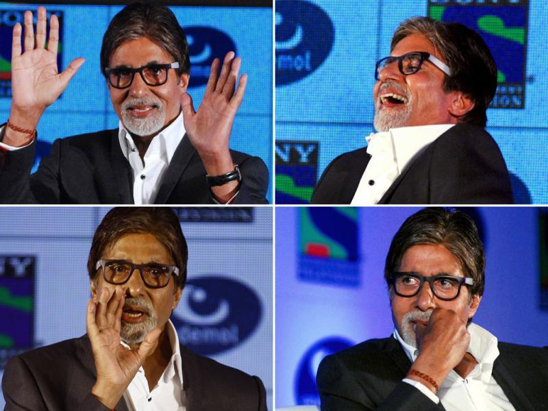 Legendary actor Amitabh Bachchan is seen in his many moods at a recent press conference where he broke the news about his upcoming television production with Anurag Kashyap. Bachchan will also act in the fictional series. (AP Photo)