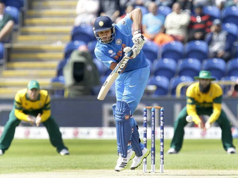 Rohit Sharma scores the first run against South Africa during their group stage ICC Champions Trophy cricket match in Cardiff, Wales. AP photo