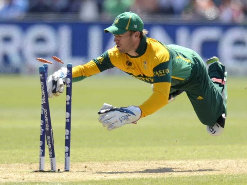 South African batsman A B de Villiers dives in an attempted run out during the ICC Champions Trophy group B match against India at Cardiff Wales Stadium in Cardiff, Wales. Reuters photo