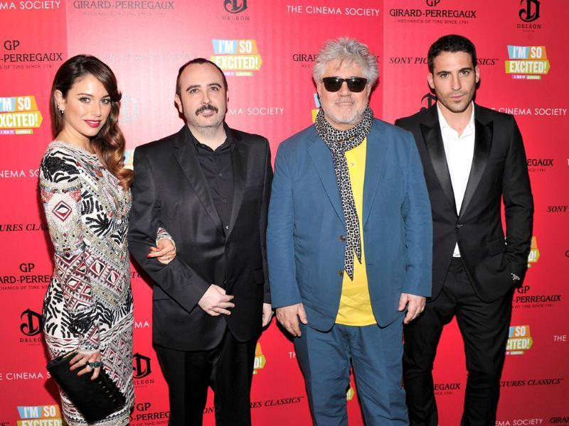 Bianca Suarez, Carlos Areces, Pedro Almodovar, and Miguel Angel Silvestre attend Girard-Perregaux and the cinema society with DeLeon host a screening of Sony Pictures Classics'