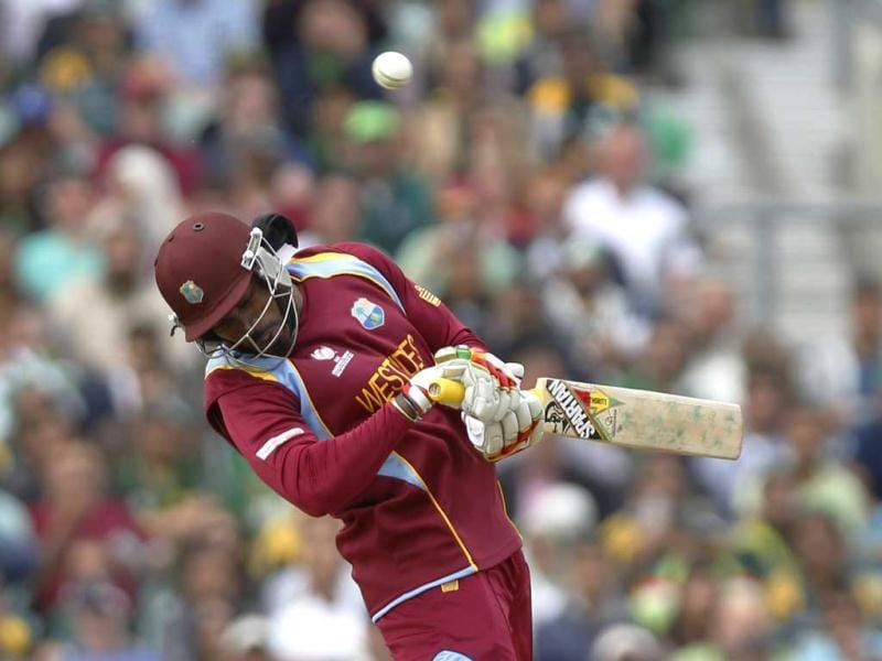 Chris Gayle avoids a bouncer from Pakistan's Wahab Riaz during their ICC Champions Trophy group B cricket match at the Oval cricket ground in London. (AP)