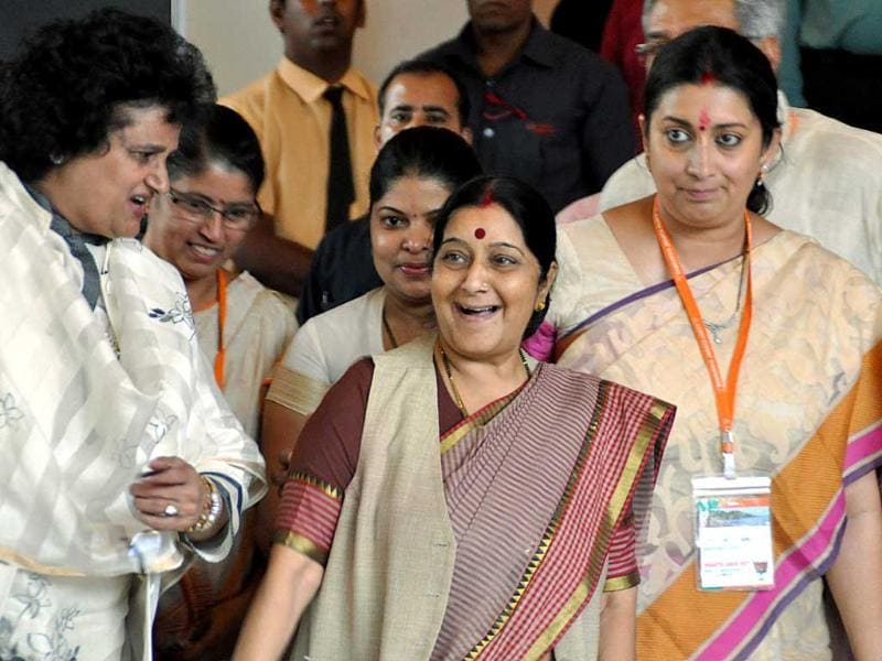 Senior party leaders Sushma Swaraj, Arti Mehra and Smriti Irani at the BJP National Executive Meeting in Goa on Friday. UNI Photo