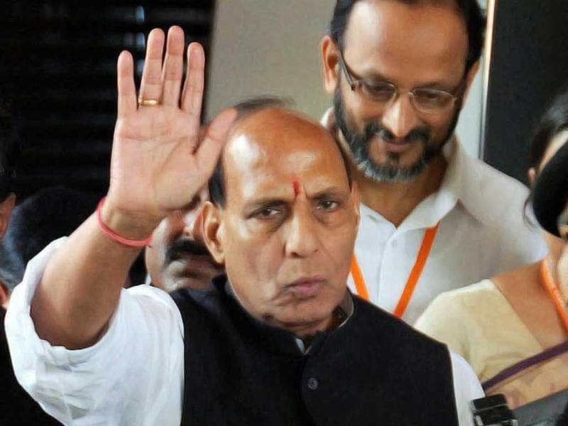BJP president Rajnath Singh arrives in Goa on Friday to attend the BJP National Executive meet. PTI Photo