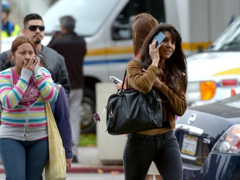 Students leave the grounds of Santa Monica College after multiple shootings were reported on the campus in Santa Monica, California. AFP