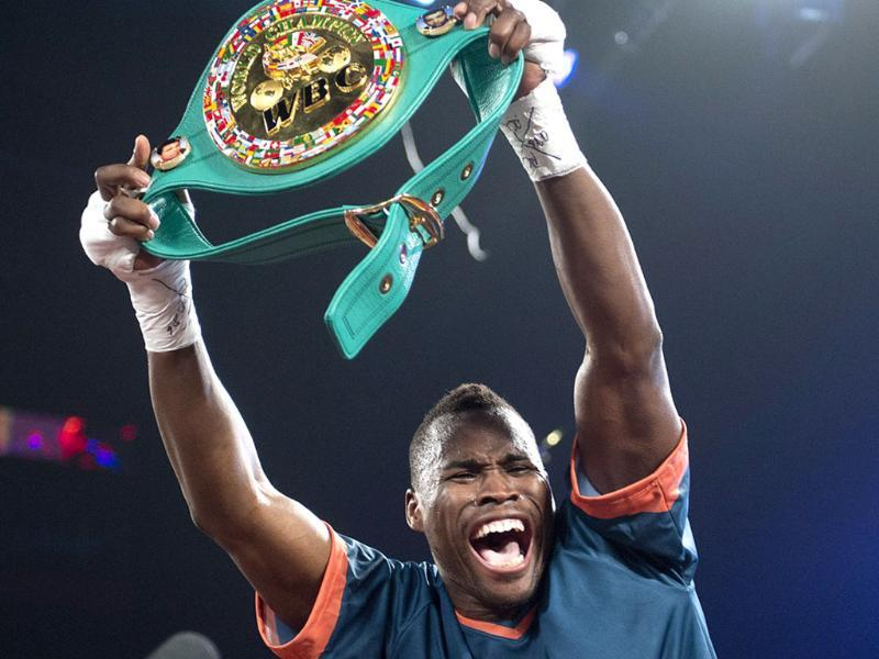 Adonis Stevenson from Canada celebrates after knocking Chad Dawson from the United States out in the first round of their WBC light-heavyweight championship bout in Montreal. AP