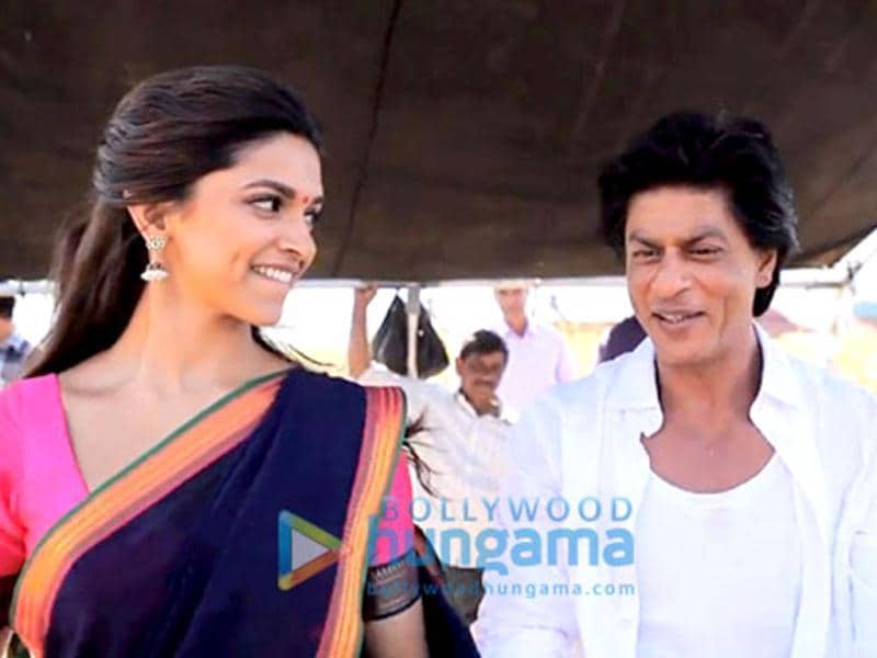 All smiles: Deepika Padukone and Shah Rukh Khan