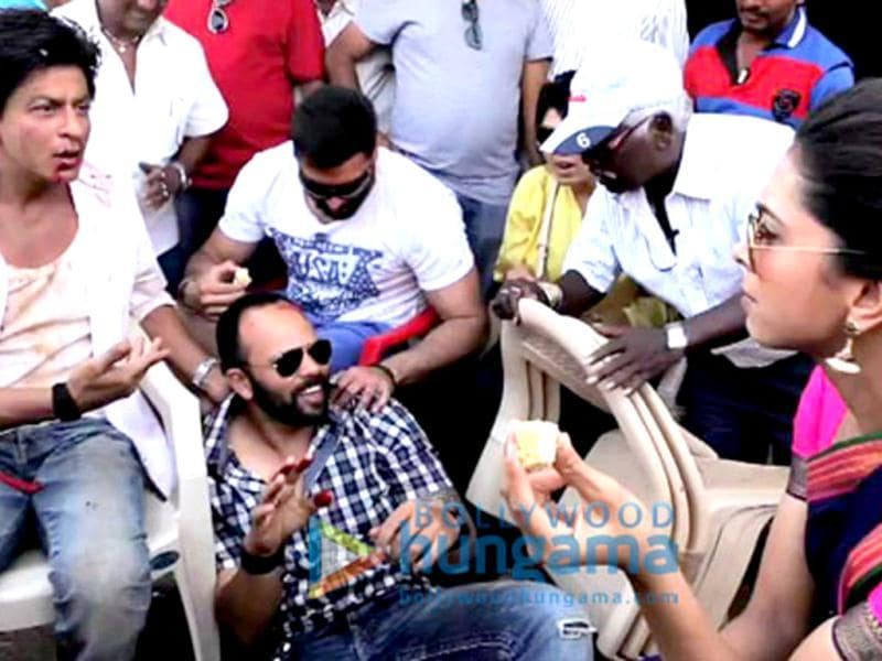 Pack up! Shah Rukh Khan, Deepika Padukone and Rohit Shetty chat on the sets.