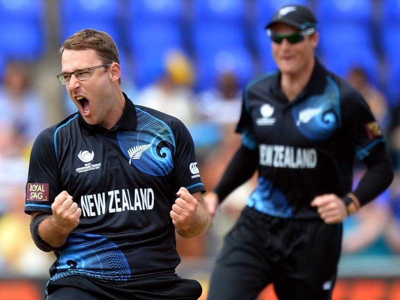 Daniel Vettori celebrates the dismissal of Sri Lanka's Prasanna Jayawardene during the 2013 ICC Champions Trophy cricket match between Sri Lanka and New Zealand at The Cardiff Wales Stadium in Cardiff, Wales. AFP