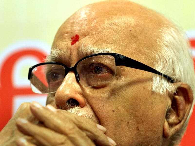 File photo: BJP senior leader L K Advani in an emotional mood on his 84th birthday, in New Delhi.