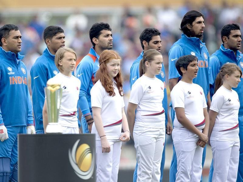 Team India during their ICC Champions Trophy match with West Indies at The Oval cricket ground in London. AP