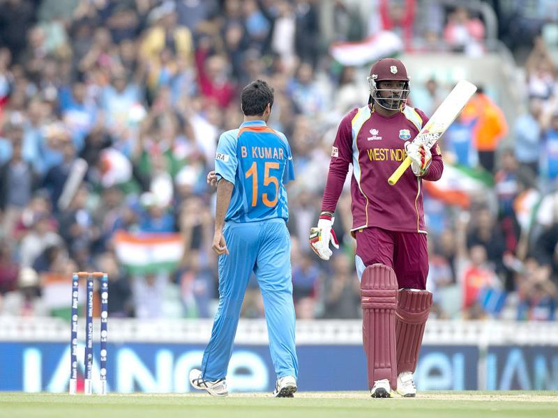 West Indies' Chris Gayle during the ICC Champions Trophy match between India and West Indies at The Oval cricket ground in London. AP
