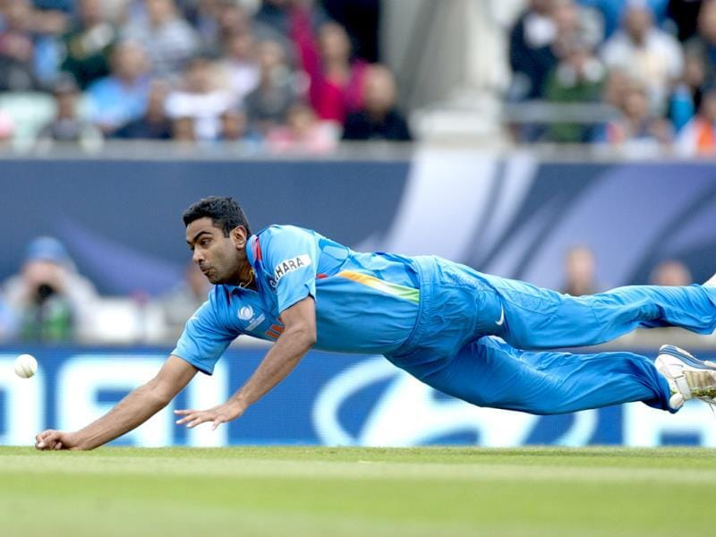 Ravichandran Ashwin fails to take a catch off his own bowling during the ICC Champions Trophy match with West Indies in London. AP