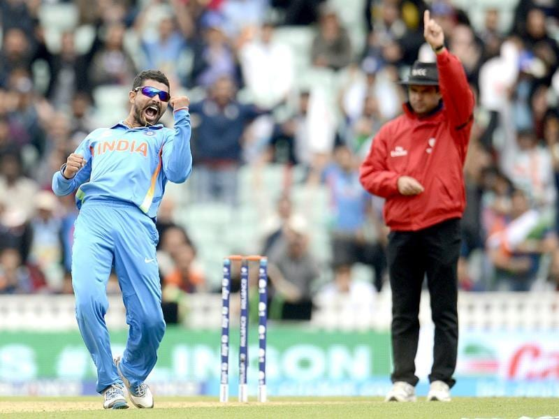 Ravindra Jadeja celebrates the dismissal of West Indies' Johnson Charles during the Champions Trophy match in London. Reuters