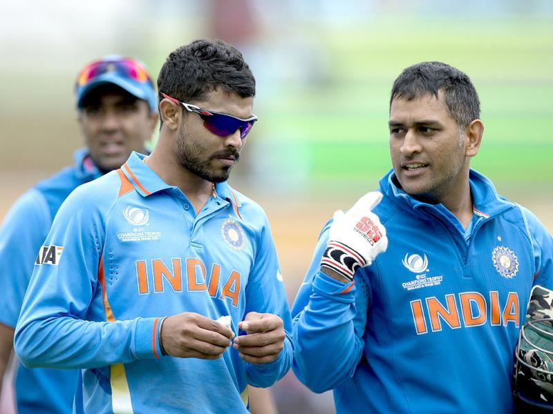 Ravindra Jadeja and MS Dhoni during the ICC Champions Trophy group B cricket match with West Indies at The Oval cricket ground in London. AP