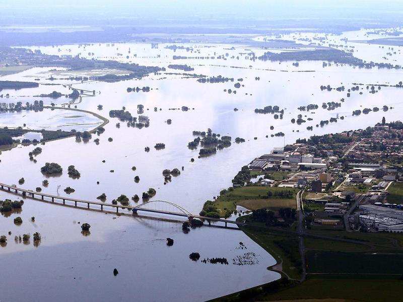 Aerial view shows the floodwaters of the river Elbe submerging the flood plains between Tangermuende and Fischbeck, eastern Germany. AFP