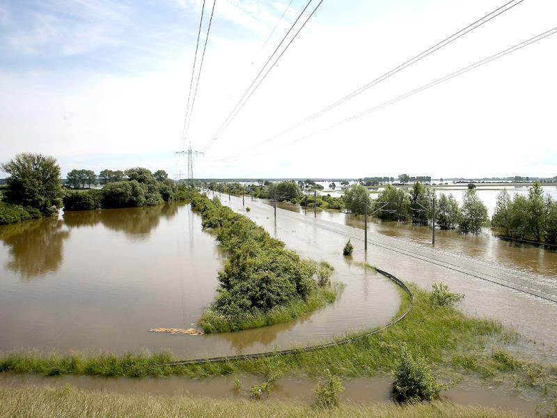 Floods of the river Elbe submerge rail tracks near Schoenhausen, in eastern Germany. AFP