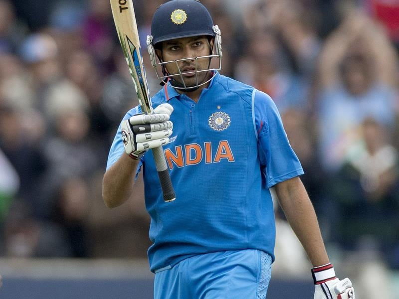 Rohit Sharma after reaching 50 runs during the ICC Champions Trophy match between India and West Indies in London. AP