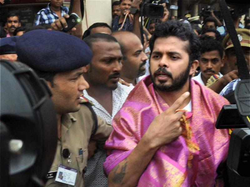 Cricketer S. Sreesanth on his arrival at the International Airport in Kochi after he was released on bail in spot-fixing case. PTI Photo