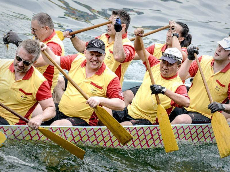 Competitors paddle during the dragon boat festival in Hong Kong. AFP