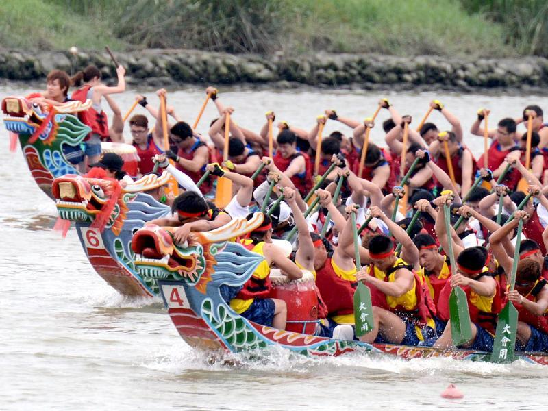 Teams take part in the annual Dragon Boat Festival in Taipei. Some 234 teams from local and foreign countries took part in the annual Dragon Boat Festival. AFP
