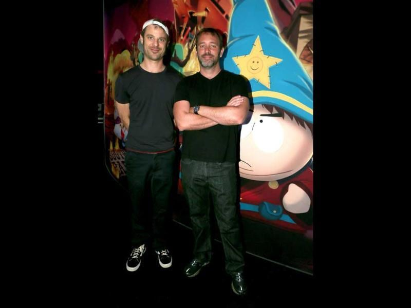 Matt Stone (left) and Trey Parker visit the Ubisoft booth to discuss