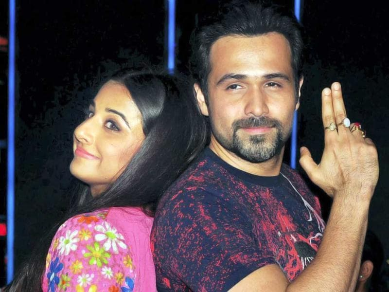 Bollywood actors Vidya Balan Kapur and Emraan Hashmi were busy painting the town red, pink and many other colours as they promoted their upcoming film Ghanchakkar in Mumbai. Take a look. (PTI Photo)