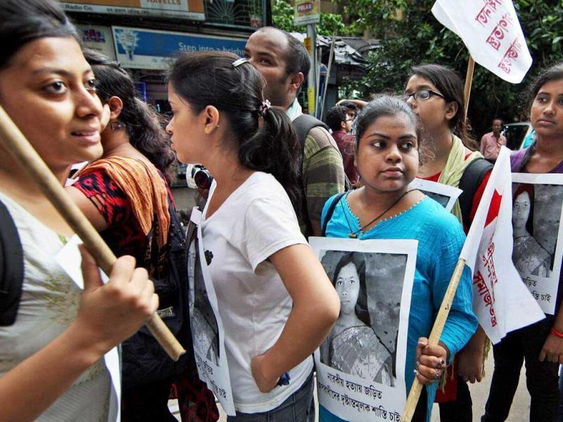 Students protesting against the gangrape and murder of a 20-year-old girl in Kolkata. PTI Photo