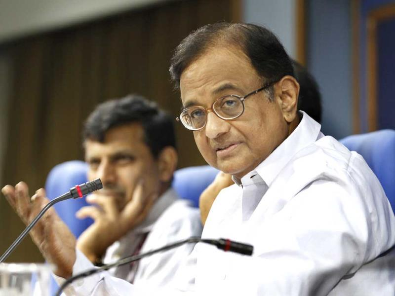 Union finance minister P. Chidamabaram during a press confrence at Shastri Bhawan in New Delhi. HT Photo/Arvind Yadav