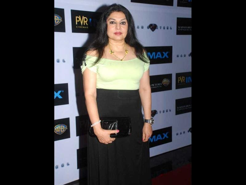Yesteryear actress Kiran Juneja at premiere of Man of Steel.