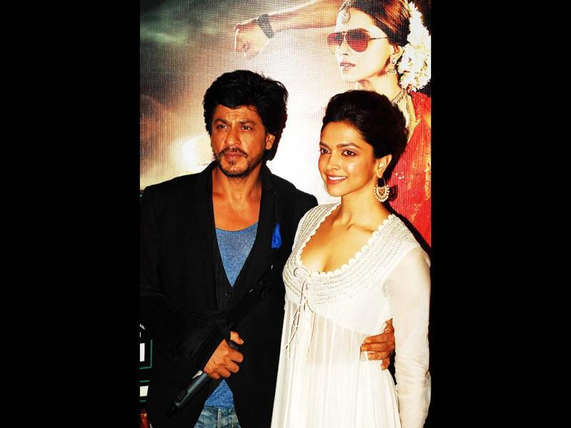 Shah Rukh Khan and Deepika pose together. (AFP Photo)
