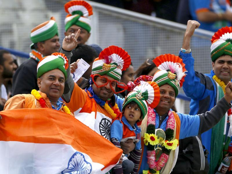 Indian fans pose before the Champions Trophy against Pakistan at Edgbaston cricket ground in Birmingham, central England. Reuters